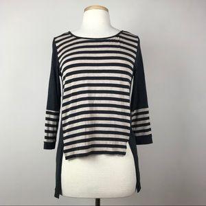 Anthropologie Bordeaux 3/4 Sleeve Striped Shirt